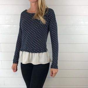 Maison Jules Textured Polka Dot 2-in-1 Top Navy